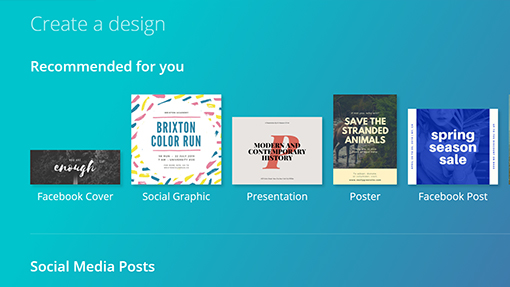 Screenshot of templates in Canva to use for social media