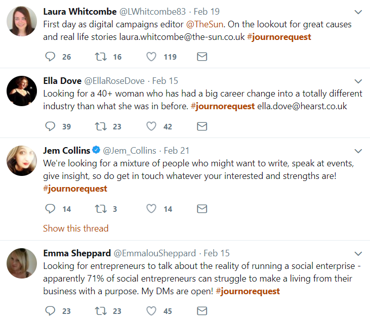 Screenshot from Twitter showing journalists who have tweeted under the #journorequest hashtag
