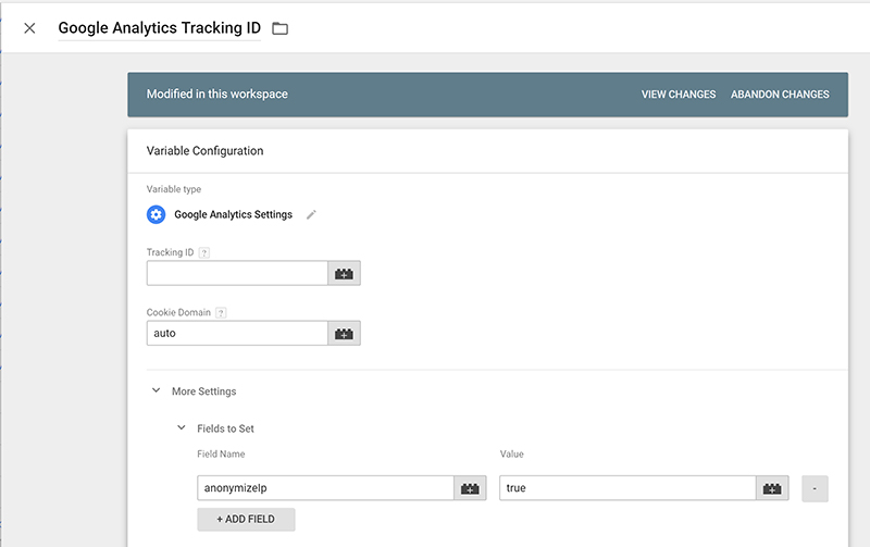 Screenshot showing how to use Google Tag Manage to anonymise IP addresses in Google Analytics