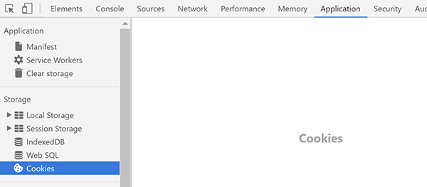 A screenshot of Chrome's developer tools, showing how to view the cookies placed in your browser