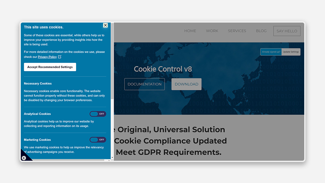 A screenshot of the Cookie Control tool by Civic