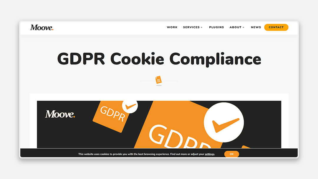 A screenshot of the GDPR Cookie Compliance tool by Moove