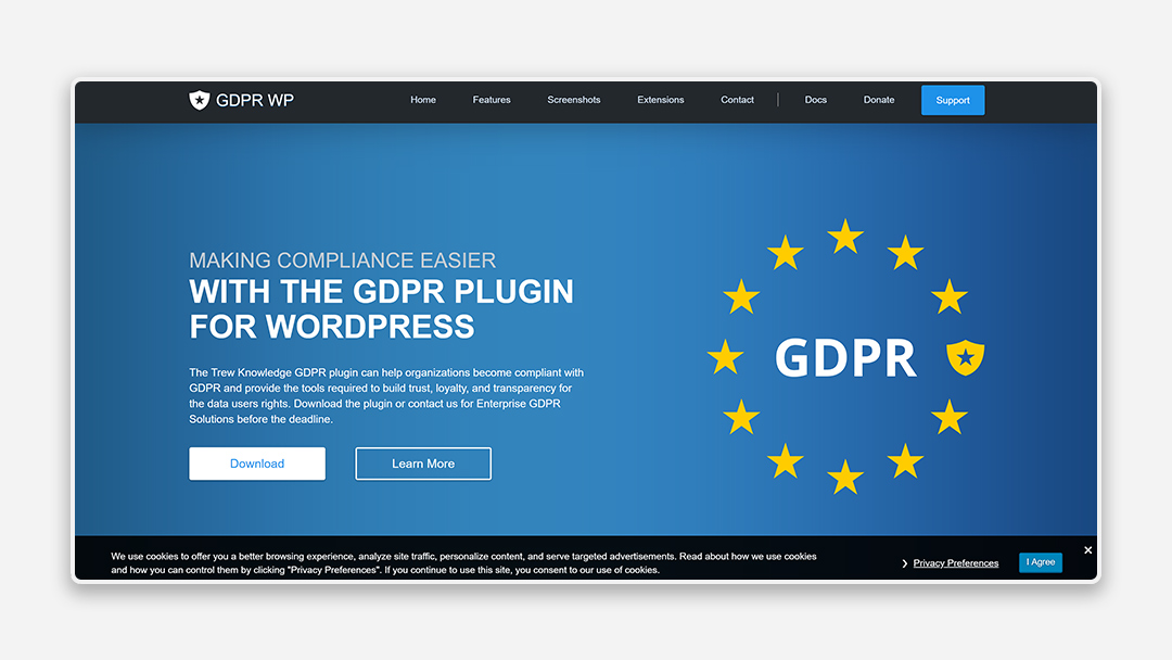 A screenshot of the GDPR WP tool