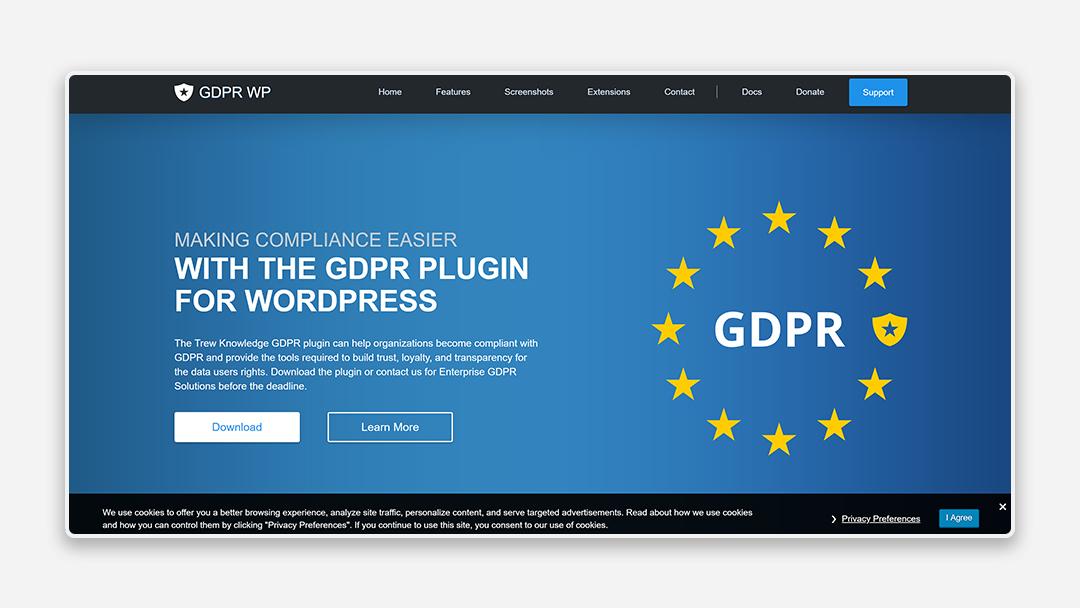 A screenshot of the GDPR WP tool