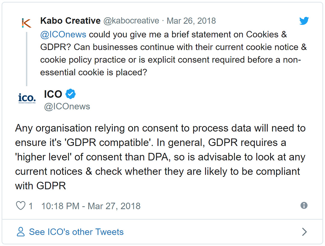 Screenshot of a tweet where the Information Commissioner's Office replied to a request for a statement on Cookies & GDPR